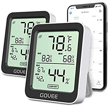 Govee Temperature Humidity Monitor, 2 Pack Indoor Bluetooth Temperature Sensor with Alert Notification, Free Data Store Accurate Hygrometer Thermometer for Home Office Baby Room Greenhouse Reptile