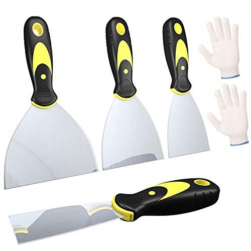 Spachtel Set, 4 Stücke Spachtel Werkzeug Rostfreier Stahl Spachtel Tapete Entfernen mit ein Paar Arbeitshandschuhe