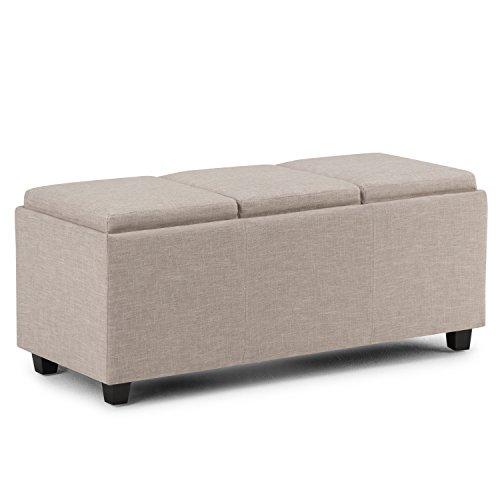Simpli Home Avalon 42 inch Wide Rectangle Storage Ottoman in Upholstered Natural Linen Look Fabric, Coffee Table for the Living Room, Bedroom, Contemporary