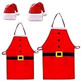 sombrero de Santa Navidad Delantales 4Pc Delantales de cocina Unisex Clásico Rojo Sombrero de Navidad Traje de Papá Noel para Navidad Fiesta de vacaciones Chef Cocina Cocina Cocina Restaurante Hornear