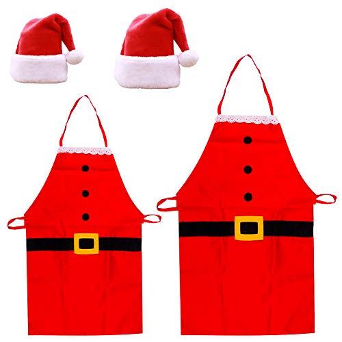 Weihnachtsmütze Nikolausmütze Weihnachtsschürze 4 pcs Küchenschürzen Unisex Classic Red Christmas Hat Weihnachtsmann Kostüm für Weihnachten Weihnachtsfeier Chefkoch Küche Kochen Restaurant Baking