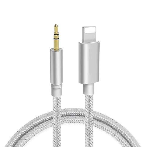 Cable Auxiliar para iPhone a Cable Auxiliar de 3.5 mm para iPhone 11/XS/X/XR/8/7/iPad/iPod Compatible con estéreo de automóvil/Auriculares/Altavoces Compatible con Todo el Sistema iOS-Plata