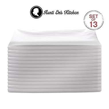 Aunti Em's Kitchen Vintage Flour Sack Kitchen Dish Towels, Commercial Restaurant Grade, Weave Cloth 100% Natural Cotton, 27 x 27, Baker's Dozen Set of 13, White