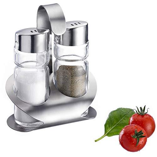 Westmark Salz und Pfeffer-Menage mit passendem Ständer, 3-tlg., Fassungsvermögen je 40 ml, Rostfreier Edelstahl/Glas, Wien, Silber/Transparent, 65022260
