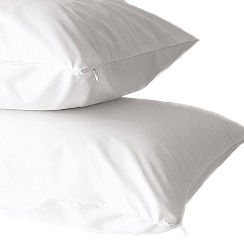 Home Fashion Designs 2-Pack Premium 100% Cotton Dust Mite Resistant Pillow Protectors. Hypoallergenic Bed Bug & Allergy Control Anti-Microbial 400 Thread Count Zippered Pillow Covers. (Standard)