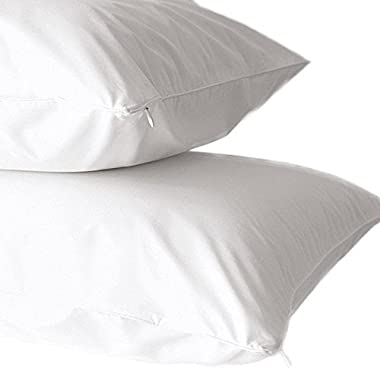 2-Pack Premium 100% Cotton Dust Mite Resistant Pillow Protectors. Hypoallergenic Bed Bug & Allergy Control Anti-Microbial 400 Thread Count Zippered Pillow Covers. (Standard)