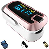 mibest OLED Finger Pulse Oximeter, O2 Meter, Dual Color White/Rose Gold