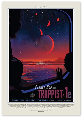"""Nukular Kunstdruck Poster A3 """"Trappist 1e – Planet hop"""" Original NASA (JPL) Design"""