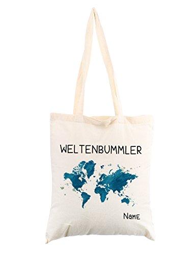 Herz & Heim Baumwollbeutel Weltenbummler mit Wunschnamen