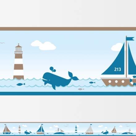 Bordüre für Kinderzimmer von Hapytaly - Sailing Taupe Motiv für Baby- und Kinderzimmer, Mädchen und Jungen – 450cm lang,11,5cm hoch - selbstklebend - schöne Bordüre, Tapete, Borte