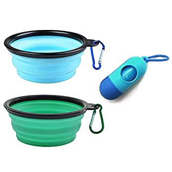 AGECASH A Collapsible Dog Bowl,Portable Dog Bowl Travel Pet Bowl Expandable for Cat Dog Water Bowls Food Feeding 2 Pack Silicone Dog Bowl