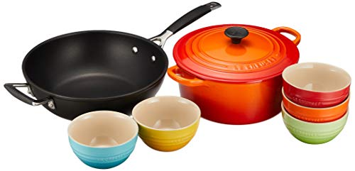 【Amazon.co.jp 限定】Le Creuset (ルクルーゼ) 両手鍋 22cm オレンジ フライパン 食器セット 7個入