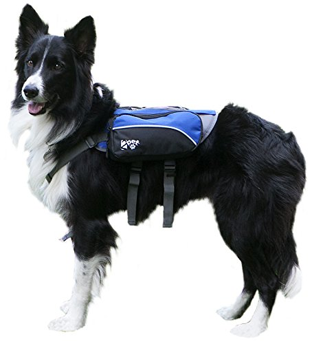 2PET Dog Backpack for Hiking Compact Dog Saddlebag for Dogs Adjustable Harness, Comfortable Fit-Perfect Dog Carrier Backpack with 2 Zipper Pockets & Bottle Holder for Outdoor Activities Medium Blue