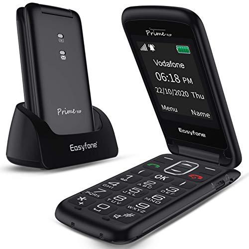 Easyfone Prime-Flip gsm Teléfono para Personas Mayores con Tapa, Teléfono móvil fácil de Usar con Botón SOS y Base de Carga (Negro)