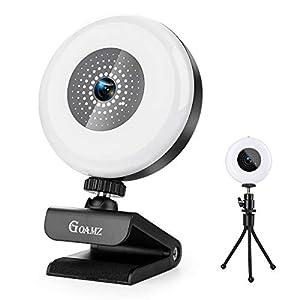 GOAMZ Webcam con Micrófono y Anillo de Luz, 2K HD Camara Web con micrófonos y Tripodepara PC/Mac/Ordenador Portatil/Sobremesa, Web CAM para Youtube, Skype, Zoom, Xbox One, Videoconferencia