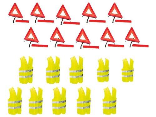 Kit auto sécurite : lot de 10 triangles de signalisation + 10 gilets jaunes EN471