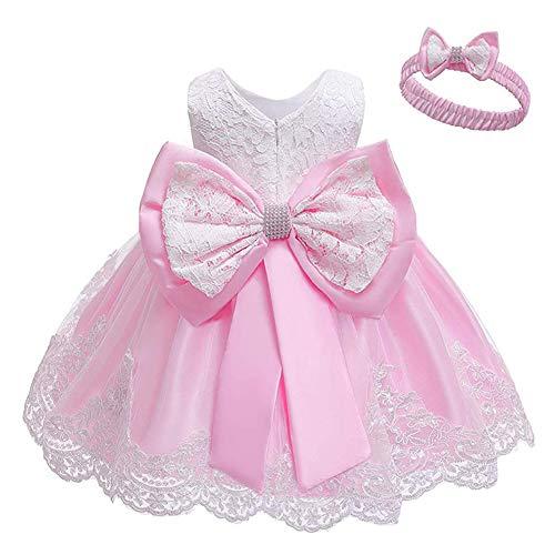 Cichic Baby Mädchen Kleid Taufkleid Spitze Prinzessin Kleid Tutu Kleid Mädchen Festlich Hochzeit Geburtstag Partykleid Blumenmädchenkleid Festzug Babybekleidung (6-12 Monate, Baby Pink)
