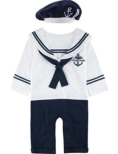 MOMBEBE COSLAND Mono Bebé Niño Manga Larga Disfraz Marinero Algodón (3-6 Meses, Blanco 2)