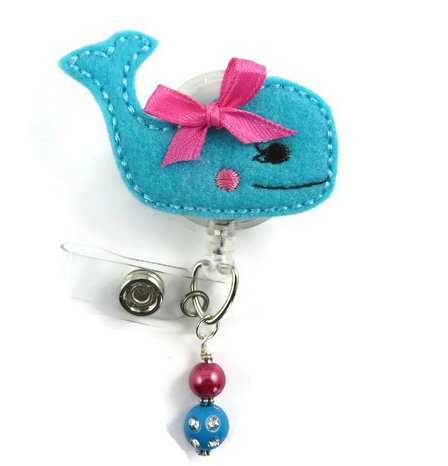 Cute Whale - Nurse Badge Reel - Retractable ID Badge Holder - Nurse Badge - Badge Clip - Badge Reels - Pediatric - RN - Name Badge Holder