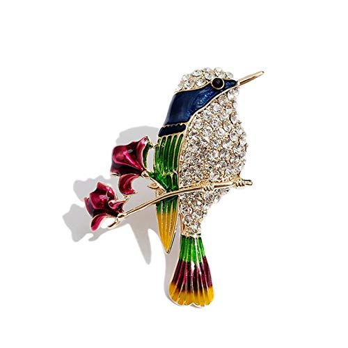 ZPEE Brosche Frauen modern Rote Rose Elster-Brosche, Vogel Kristall Brosche Brosche, Jacke Anzug Dekoration, Damen und Mädchen Pins Broschennadeln klein