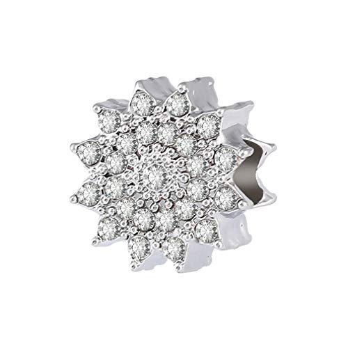 Neve Splendente Perline Per Ciondoli Charm Fiocco di Neve Cristallo Trasparente Perlina Ciondola in Forma Braccialetto DIY