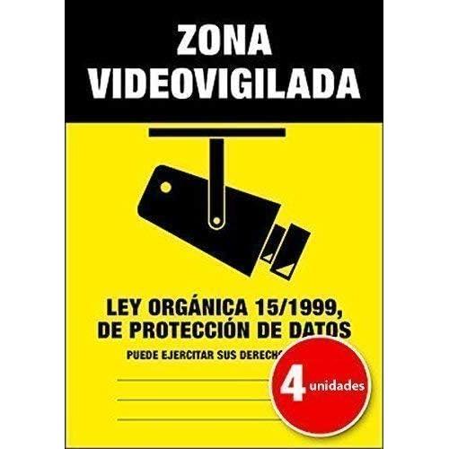 Lote (Pack) de 4 unidades | Pegatina Cartel Alarma ZONA ...