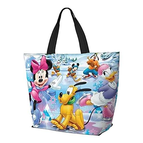 Cartoon Mickey Minnie Mouse Tote Bag Tracolla Stile Semplicità Grande Capacità Shopping Bag Palestra Spiaggia Viaggi Quotidiano Unisex Pieghevole, A tinta unita, Medium