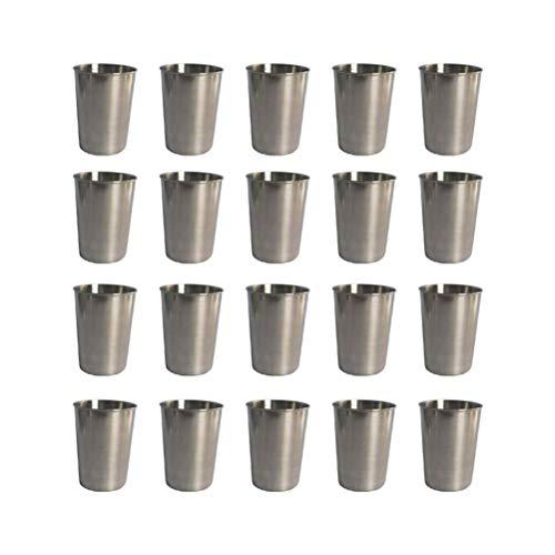 NUOBESTY Juego de 20 tazas de acero inoxidable para salsas, condimentos, tazas, boles para beber, vaso de 30 ml
