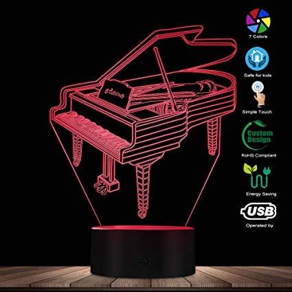3D-Nachtlicht,Piano 3D Visuelle Nachtlicht Tischlampe Musikinstrument Dekorative Lampe Tischleuchte Pianist Zimmer Led Beleuchtung Dekor Geschenk Für Sie, Fernbedienung