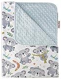 Top Tots Baby Blanket - Baby Koala Bears & Butterflies with Light Blue Minky Dot