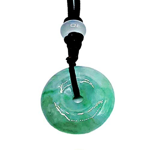 Cuckoo Jade Necklace | Certified 100% Grade A Quality | Adjustable Length | for Good Luck & Long Life | 1.1 inch Donut/Circle Jade