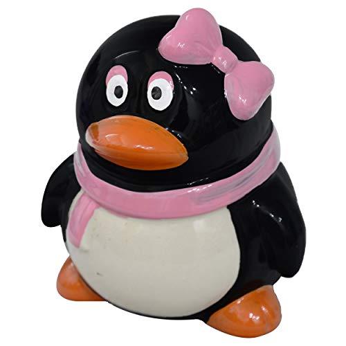 Hucha Infantil de Pingüino, realizada en Cerámica, de Color Negro y Rosa, con diseño Original (14cm X 12cm X 11cm) - Hogar y Más