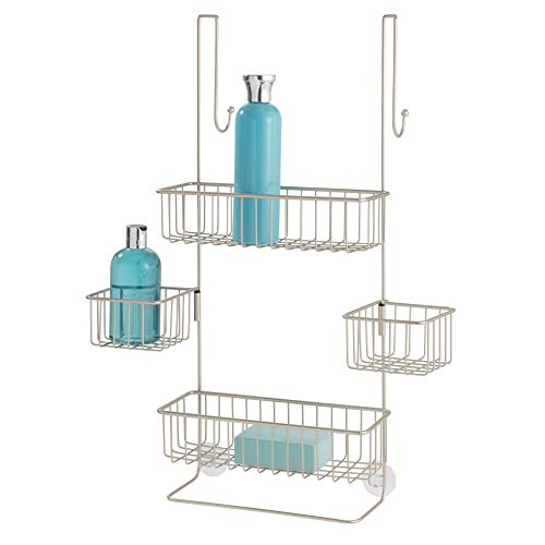 iDesign Metalo Bathroom Over the Door Shower Caddy with Swivel Storage Baskets for Shampoo, Conditioner, Soap, 22.7' x 10.5' x 8.2', Matte Satin