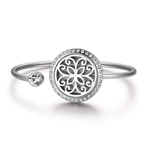 Bracelet de femme en acier inoxydable Exquise fleur ajourée ronde peut ouvrir ajouré huile essentielle arôme diffus photo cadre boîte dames bracelets avec tapis de mariage parfumé cadeau d