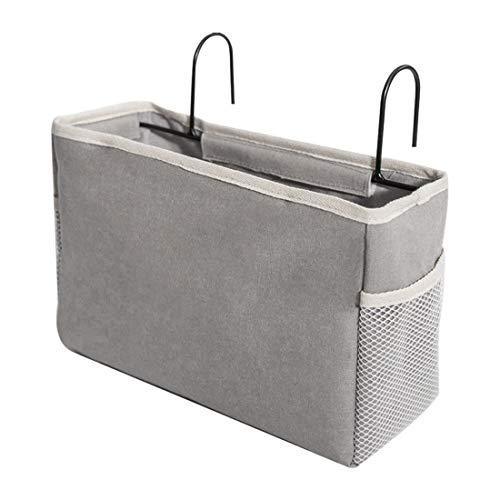 Bverionant Bedside Storage Hanging Organizer Basket Pocket Bunk Bed Remote Book Holder Grey