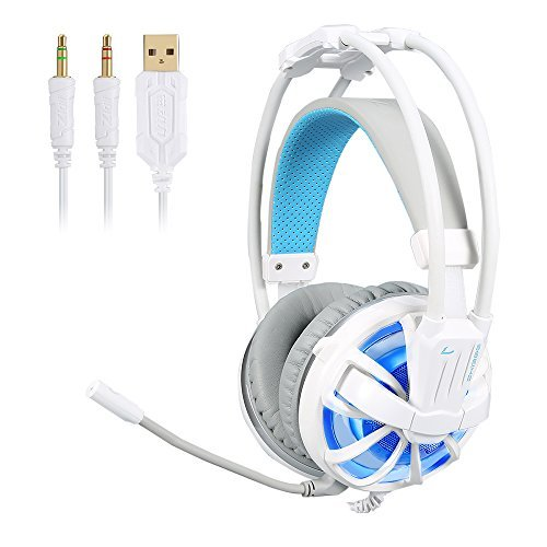 EUKYMR Gaming Headset with Mic Noise Canceling LED Light Wired PC Gaming Headset Channel Virtual 7.1 USB Surround Stereo Built-in Mic and Wired Mode