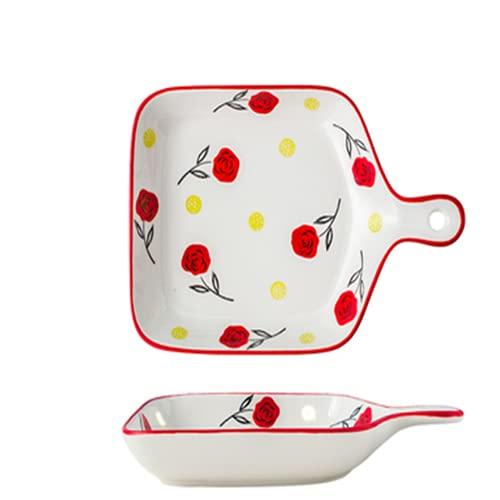 Platos de hornear de cerámica para hornear con mango de pasta, Lasaña, plato de ensalada pintada a mano, bandeja para el hogar para pastas de lasaña (tamaño: como se muestra; color: C)