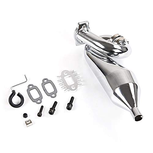Tuneway Chrome Resonant Tube Tuned Pipe Exhaust Pipe General for 1/5 HPI Baja 5B Ss 5T 5Sc Rovan King Motor Rc Car Tuned Pipe Exhaust