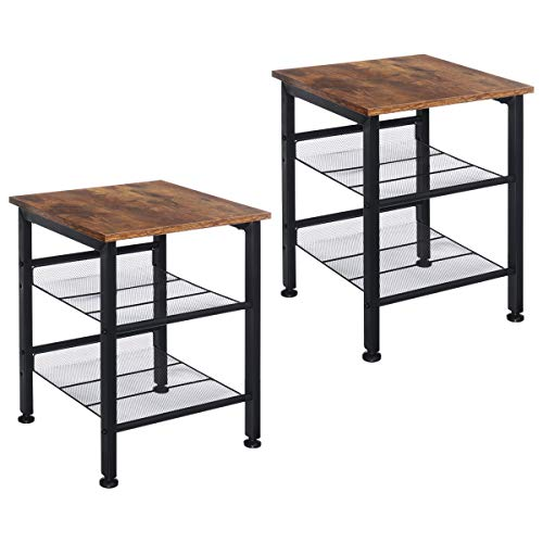 Industrial Nightstand, KingSo Set of 2 Side Tables, End Tables with 2-Tier Adjustable Storage Shelves for Wood Look Accent Furniture, Tall Metal Frame and Easy Assembly, Rustic Brown