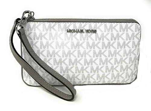 """Size Measurements Approximately 7.5""""(L) X 4.5""""(H) X 0.5""""(D) w/ 6.5"""" strap drop Mk Logo PVC & Leather, Silver tone hardware Top zipper closures, MK logo on front Interior: 3 Credit Card Slots MK signature fabric inside lining"""