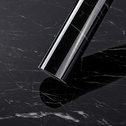 LC&TEAM Marmor Folie Schwarz klebefolie Selbstklebende ölbeständige Wandschutzfolie 0.61 * 5M Hochtemperaturbeständige-Aluminiumfolie Tapeten wasserdichter Aufkleber für Küche Bad Möbel Tisch Schrank