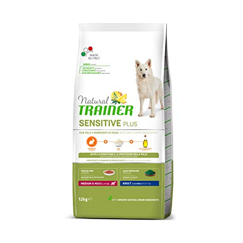 Natural Trainer Sensitive Plus - Cibo per Cani Medium&Maxi Adult con Coniglio-Riso-Olio 12kg