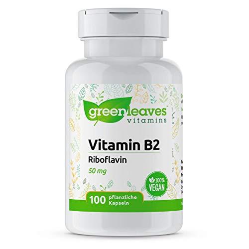 Greenleaves Vitamins - Vitamin B2 100 vegetarische Kapseln Riboflavin 50 mg - vitamine b gegen müdigkeit und erschöpfung. Frei von Gluten, Soja und Lactose. 100% Vegan.