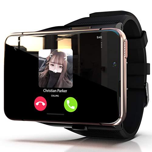 HJKPM MAX Smartwatch, Reloj Inteligente De Alta Configuración con Pantalla Grande 4G + 64G De 2,88 Pulgadas Correa Desmontable Soporte Bluetooth GPS WiFi,Oro