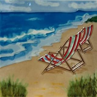 Beach Surf Scene Chair Decorative Ceramic Wall Art Tile 8x8