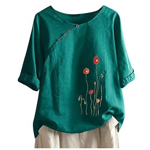 Binggong Damen Pusteblume Bedrucktes T-Shirt Kurzarm Lose Bluse,Lässiger Rundhals Sommer Tops Oberteile Casual Festlich Party Kleidung Sommershirt Kurzarmshirt
