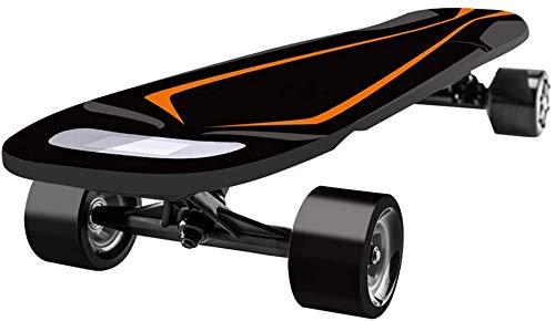 LINANNAN Maple Consejo Max Gamma 12 Miles, velocidad máxima 24 MPH, doble Hub motores eléctricos Longboard con LED de mando a distancia, naranja, negro