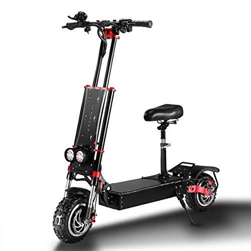 CNRRT Elektro-Motorroller 5600W 60V 32Ah 11-Zoll-Doppel Lithium alle Geländereifen Höchstgeschwindigkeit 85 km/h mit Einer Leistung Sitzschie
