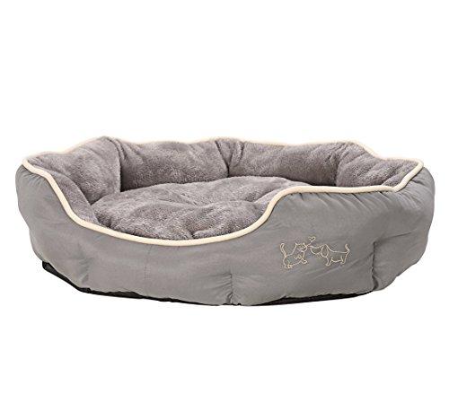 Dehner Hunde- und Katzenbett Sammy, oval, ca. 70 x 65 x 14 cm, Polyester, grau