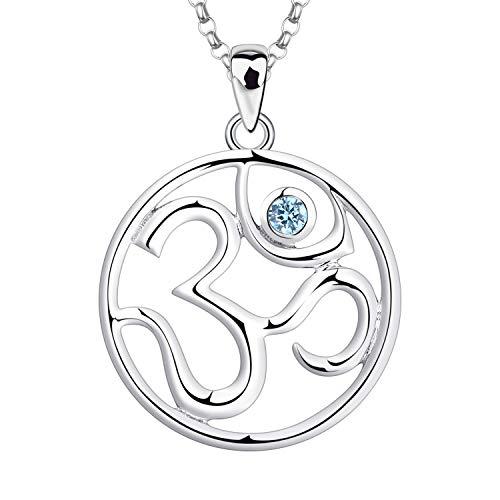 JO WISDOM Collar de Plata de ley 925 Mujer,Colgante con Cadena Indio Yoga Aum Om Ohm con...